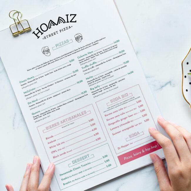 menu homiz pizza
